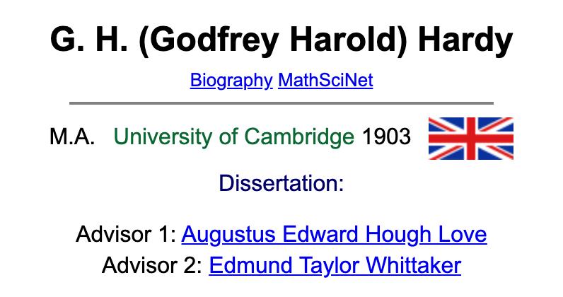 Hardy的数学家族谱