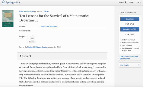 Springer Link Ten Lessons for the Survival of a Mathematics Department