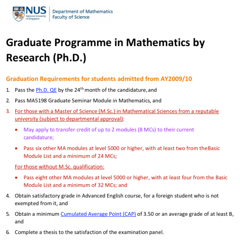 NUS_PHD_requirement